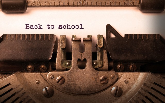 Vintage inscription made by old typewriter back to school